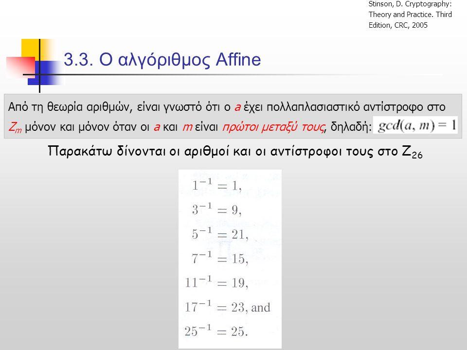 3.3.Ο αλγόριθμος Affine Παρακάτω δίνονται οι αριθμοί και οι αντίστροφοι τους στο Z 26 Stinson, D.