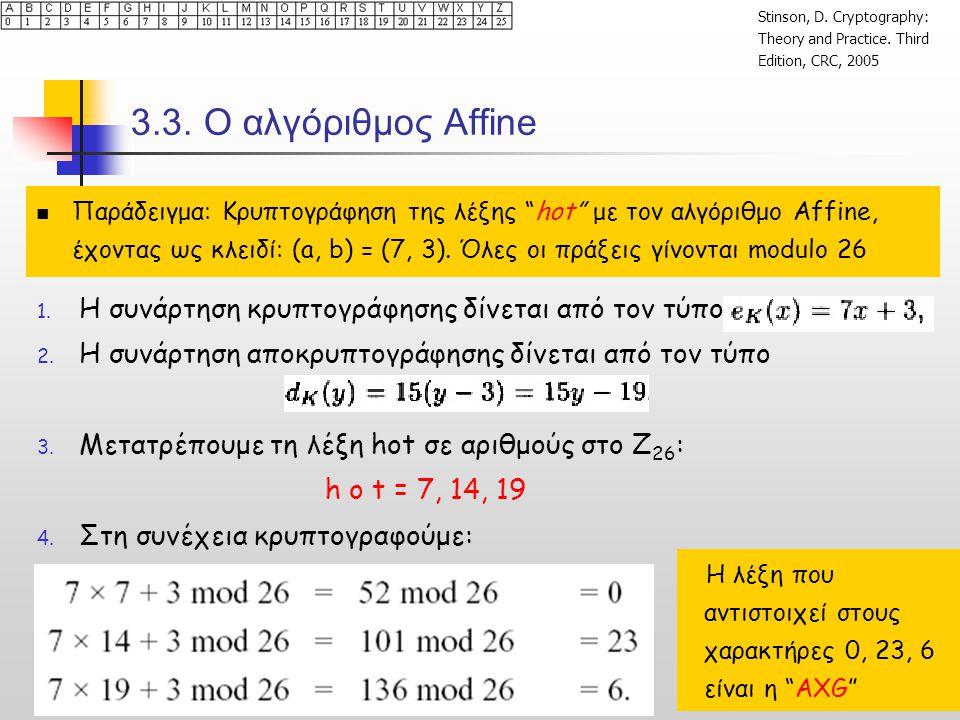 """3.3. Ο αλγόριθμος Affine  Παράδειγμα: Κρυπτογράφηση της λέξης """"hot"""" με τον αλγόριθμο Affine, έχοντας ως κλειδί: (a, b) = (7, 3). Όλες οι πράξεις γίνο"""