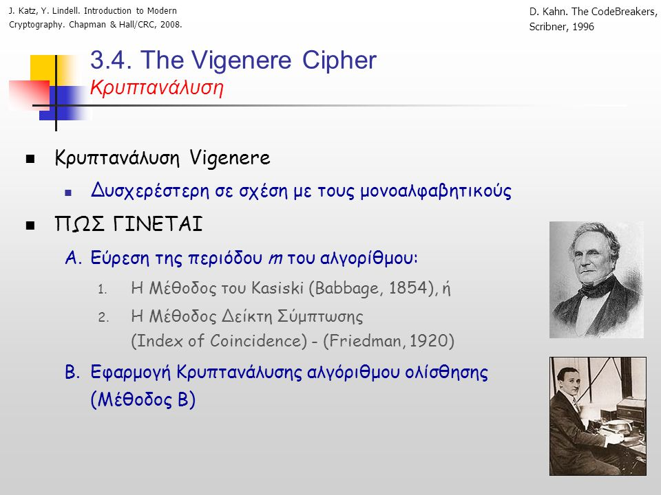 3.4. Τhe Vigenere Cipher Κρυπτανάλυση  Κρυπτανάλυση Vigenere  Δυσχερέστερη σε σχέση με τους μονοαλφαβητικούς  ΠΩΣ ΓΙΝΕΤΑΙ A.Εύρεση της περιόδου m τ