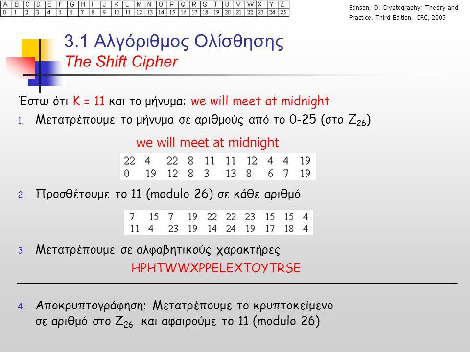 3.1 Αλγόριθμος Ολίσθησης Τhe Shift Cipher Έστω ότι Κ = 11 και το μήνυμα: we will meet at midnight 1.