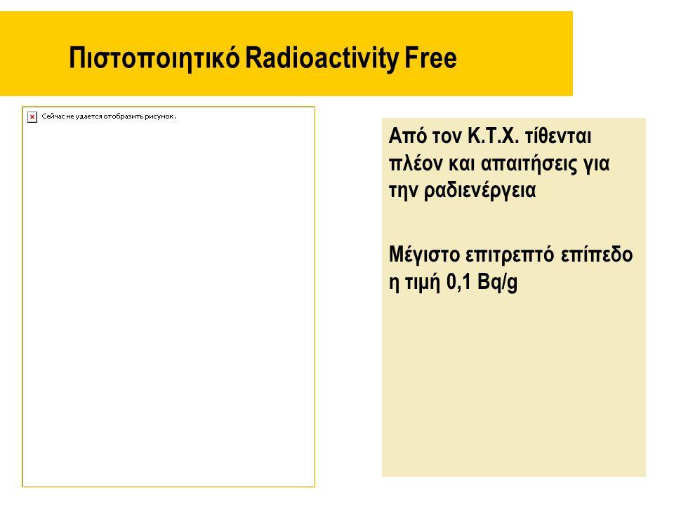 Πιστοποιητικό Radioactivity Free Από τον Κ.Τ.Χ. τίθενται πλέον και απαιτήσεις για την ραδιενέργεια Μέγιστο επιτρεπτό επίπεδο η τιμή 0,1 Bq/g