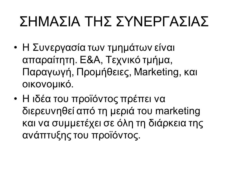 ΣΗΜΑΣΙΑ ΤΗΣ ΣΥΝΕΡΓΑΣΙΑΣ •Η Συνεργασία των τμημάτων είναι απαραίτητη. E&A, Τεχνικό τμήμα, Παραγωγή, Προμήθειες, Marketing, και οικονομικό. •Η ιδέα του