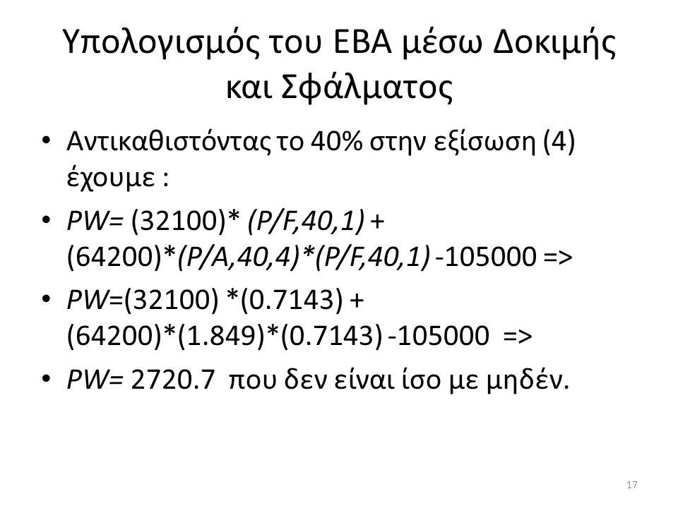 Υπολογισμός του ΕΒΑ μέσω Δοκιμής και Σφάλματος • Αντικαθιστόντας το 40% στην εξίσωση (4) έχουμε : • ΡW= (32100)* (Ρ/F,40,1) + (64200)*(Ρ/A,40,4)*(Ρ/F,
