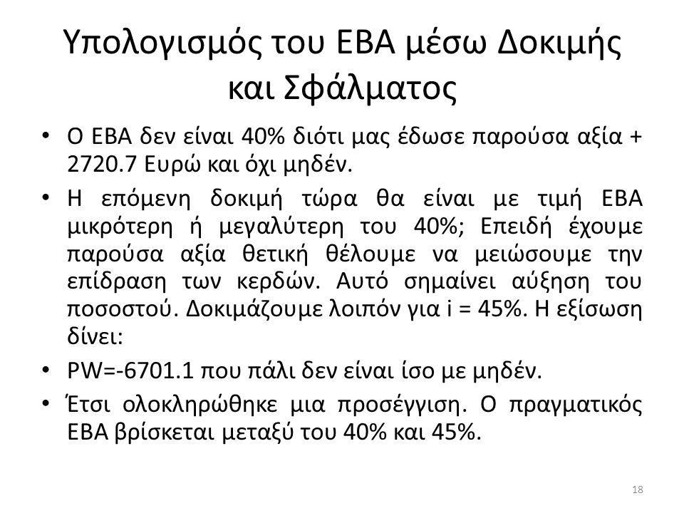 Υπολογισμός του ΕΒΑ μέσω Δοκιμής και Σφάλματος • Ο ΕΒΑ δεν είναι 40% διότι μας έδωσε παρούσα αξία + 2720.7 Ευρώ και όχι μηδέν. • Η επόμενη δοκιμή τώρα
