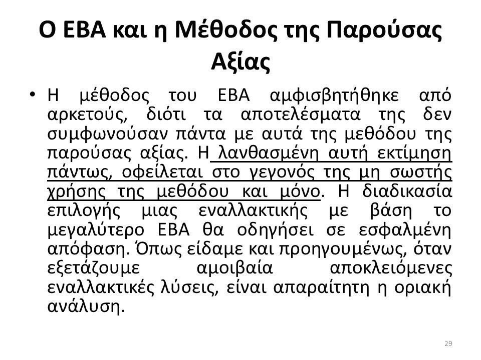 Ο ΕΒΑ και η Μέθοδος της Παρούσας Αξίας • Η μέθοδος του ΕΒΑ αμφισβητήθηκε από αρκετούς, διότι τα αποτελέσματα της δεν συμφωνούσαν πάντα με αυτά της μεθ