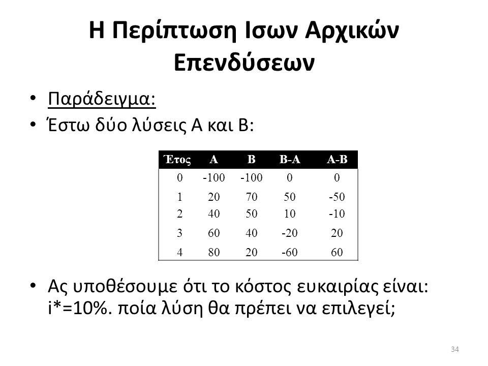 Η Περίπτωση Ισων Αρχικών Επενδύσεων • Παράδειγμα: • Έστω δύο λύσεις Α και Β: • Ας υποθέσουμε ότι το κόστος ευκαιρίας είναι: i*=10%. ποία λύση θα πρέπε