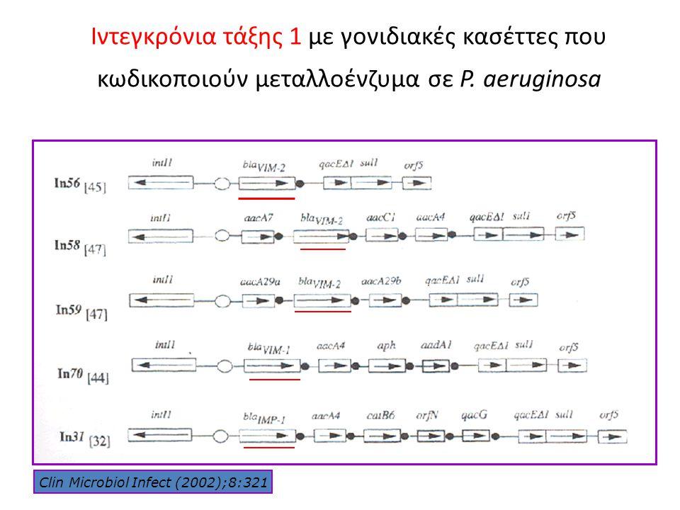 Ιντεγκρόνια τάξης 1 με γονιδιακές κασέττες που κωδικοποιούν μεταλλοένζυμα σε P. aeruginosa Clin Microbiol Infect (2002);8:321