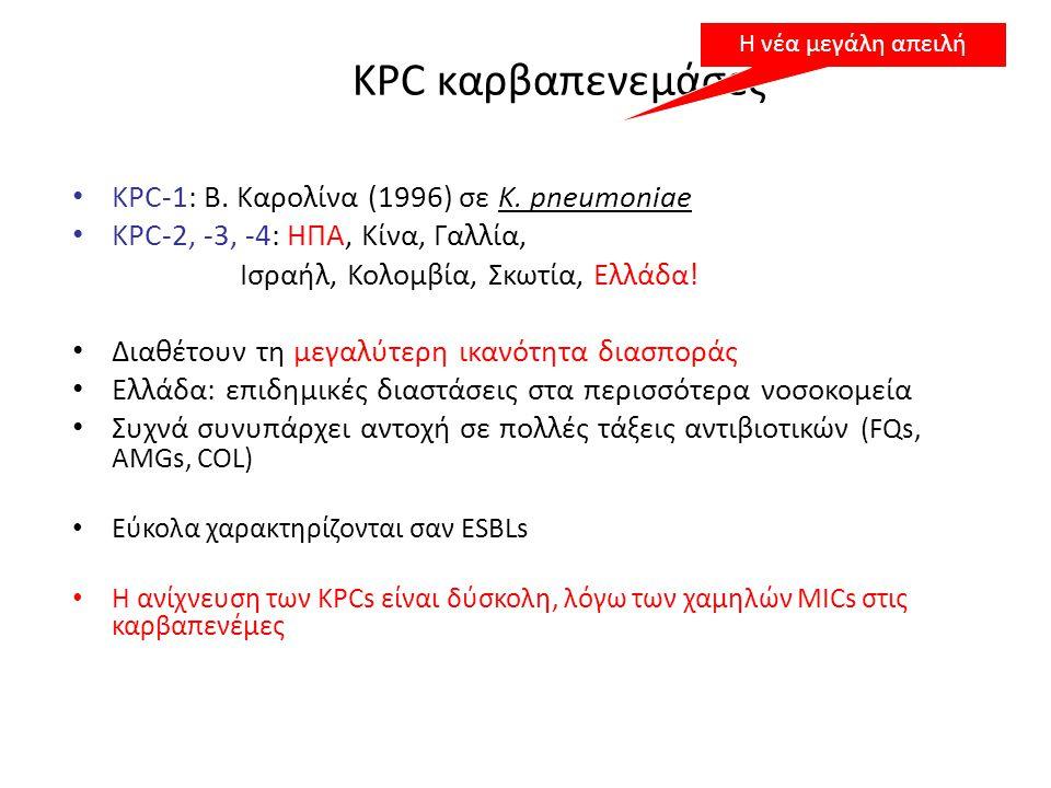 KPC καρβαπενεμάσες • KPC-1: Β. Καρολίνα (1996) σε K. pneumoniae • KPC-2, -3, -4: ΗΠΑ, Κίνα, Γαλλία, Ισραήλ, Κολομβία, Σκωτία, Ελλάδα! • Διαθέτουν τη μ