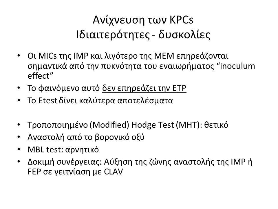 """Ανίχνευση των KPCs Ιδιαιτερότητες - δυσκολίες • Οι MICs της ΙΜΡ και λιγότερο της ΜΕΜ επηρεάζονται σημαντικά από την πυκνότητα του εναιωρήματος """"inocul"""