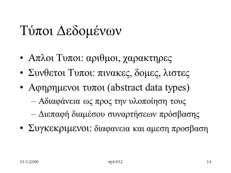 31/1/2000epl-03214 Τύποι Δεδομένων •Απλοι Τυποι: αριθμοι, χαρακτηρες •Συνθετοι Τυποι: πινακες, δομες, λιστες •Αφηρημενοι τυποι (abstract data types) –Αδιαφάνεια ως προς την υλοποίηση τους –Διεπαφή διαμέσου συναρτήσεων πρόσβασης •Συγκεκριμενοι: διαφανεια και αμεση προσβαση