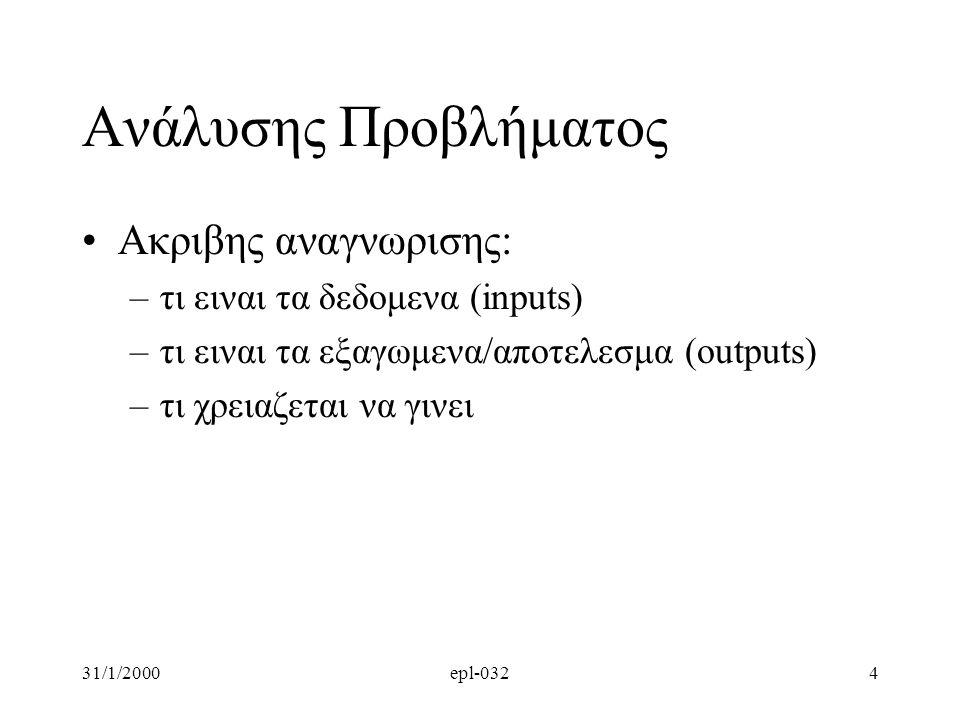 31/1/2000epl-0324 Aνάλυσης Προβλήματος •Ακριβης αναγνωρισης: –τι ειναι τα δεδομενα (inputs) –τι ειναι τα εξαγωμενα/αποτελεσμα (outputs) –τι χρειαζεται να γινει