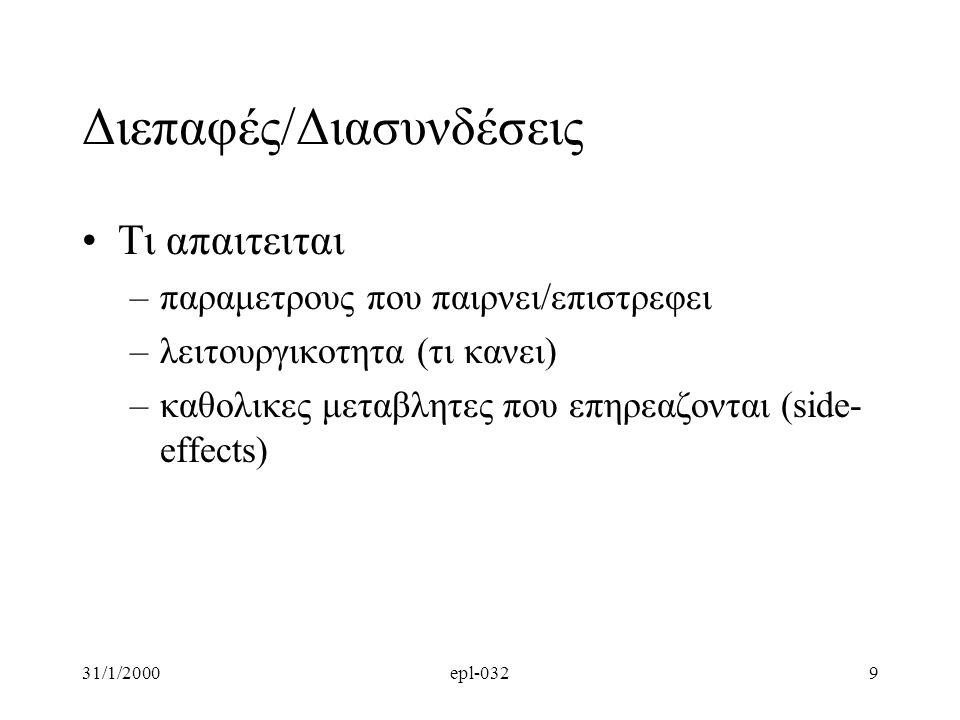 31/1/2000epl-0329 Διεπαφές/Διασυνδέσεις •Tι απαιτειται –παραμετρους που παιρνει/επιστρεφει –λειτουργικοτητα (τι κανει) –καθολικες μεταβλητες που επηρεαζονται (side- effects)