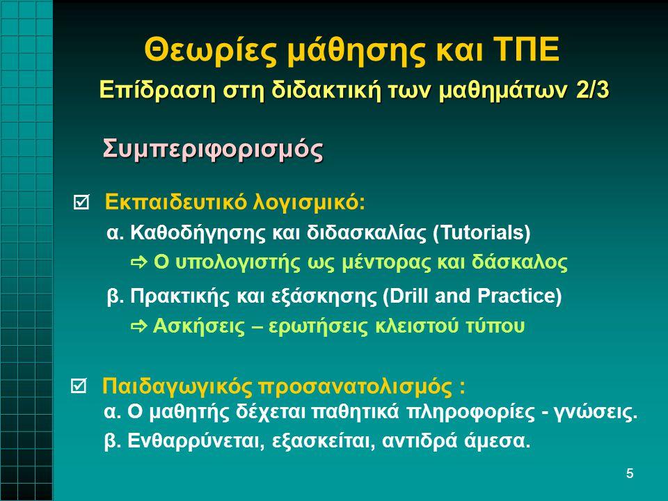 5 Θεωρίες μάθησης και ΤΠΕ  Εκπαιδευτικό λογισμικό: α. Καθοδήγησης και διδασκαλίας (Tutorials)  Ο υπολογιστής ως μέντορας και δάσκαλος β. Πρακτικής κ