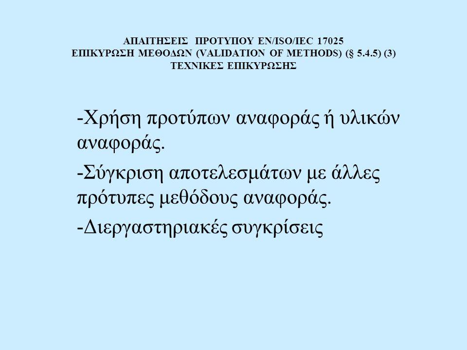 ΑΠΑΙΤΗΣΕΙΣ ΠΡΟΤΥΠΟΥ EN/ISO/IEC 17025 ΕΠΙΚΥΡΩΣΗ ΜΕΘΟΔΩΝ (VALIDATION OF METHODS) (§ 5.4.5) (3) ΤΕΧΝΙΚΕΣ ΕΠΙΚΥΡΩΣΗΣ -Χρήση προτύπων αναφοράς ή υλικών αναφοράς.