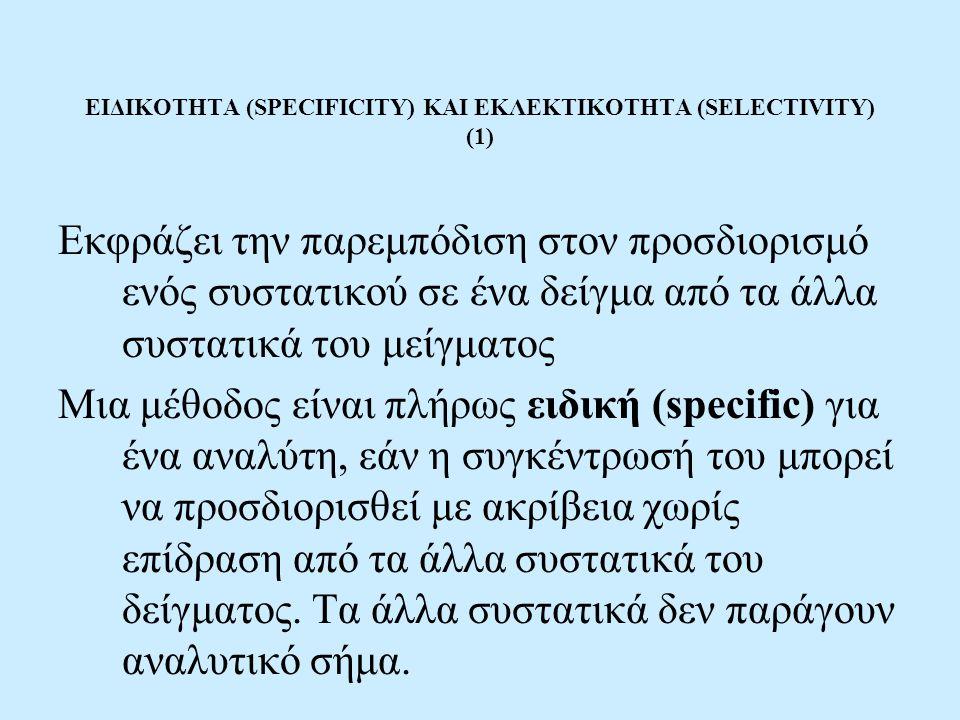 ΕΙΔΙΚΟΤΗΤΑ (SPECIFICITY) ΚΑΙ ΕΚΛΕΚΤΙΚΟΤΗΤΑ (SELECTIVITY) (1) Εκφράζει την παρεμπόδιση στον προσδιορισμό ενός συστατικού σε ένα δείγμα από τα άλλα συστατικά του μείγματος Μια μέθοδος είναι πλήρως ειδική (specific) για ένα αναλύτη, εάν η συγκέντρωσή του μπορεί να προσδιορισθεί με ακρίβεια χωρίς επίδραση από τα άλλα συστατικά του δείγματος.