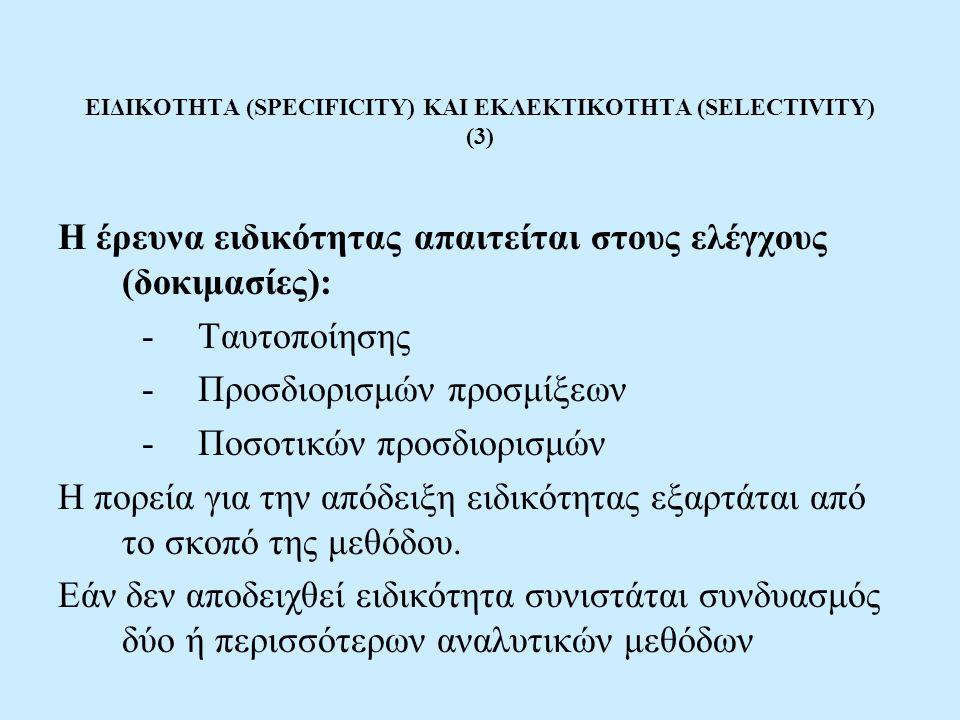 ΕΙΔΙΚΟΤΗΤΑ (SPECIFICITY) ΚΑΙ ΕΚΛΕΚΤΙΚΟΤΗΤΑ (SELECTIVITY) (3) Η έρευνα ειδικότητας απαιτείται στους ελέγχους (δοκιμασίες): -Ταυτοποίησης -Προσδιορισμών προσμίξεων -Ποσοτικών προσδιορισμών Η πορεία για την απόδειξη ειδικότητας εξαρτάται από το σκοπό της μεθόδου.