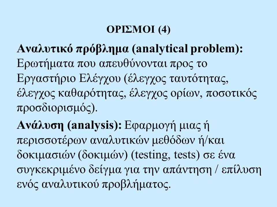 ΟΡΙΣΜΟΙ (4) Αναλυτικό πρόβλημα (analytical problem): Ερωτήματα που απευθύνονται προς το Εργαστήριο Ελέγχου (έλεγχος ταυτότητας, έλεγχος καθαρότητας, έλεγχος ορίων, ποσοτικός προσδιορισμός).
