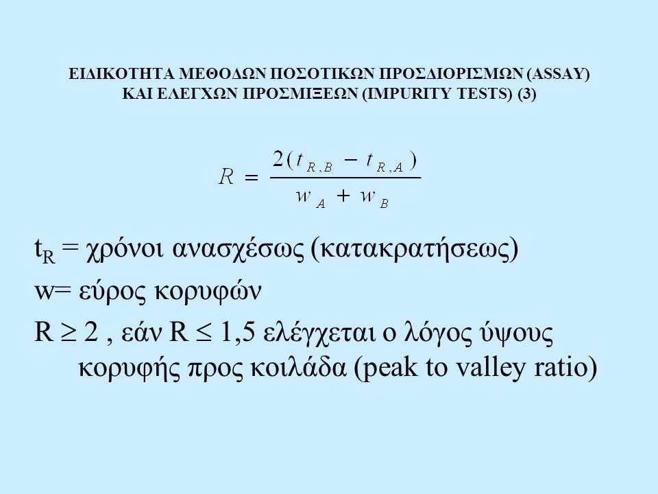 ΕΙΔΙΚΟΤΗΤΑ ΜΕΘΟΔΩΝ ΠΟΣΟΤΙΚΩΝ ΠΡΟΣΔΙΟΡΙΣΜΩΝ (ASSAY) ΚΑΙ ΕΛΕΓΧΩΝ ΠΡΟΣΜΙΞΕΩΝ (IMPURITY TESTS) (3) t R = χρόνοι ανασχέσως (κατακρατήσεως) w= εύρος κορυφών R  2, εάν R  1,5 ελέγχεται ο λόγος ύψους κορυφής προς κοιλάδα (peak to valley ratio)