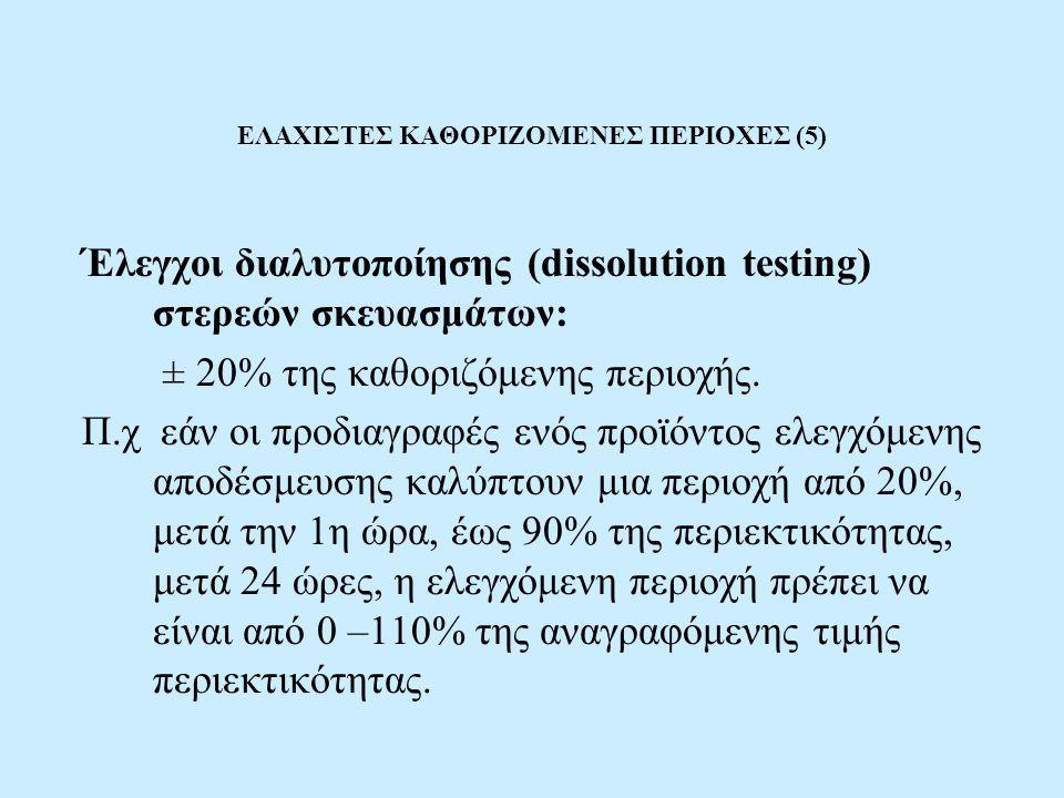ΕΛΑΧΙΣΤΕΣ ΚΑΘΟΡΙΖΟΜΕΝΕΣ ΠΕΡΙΟΧΕΣ (5) Έλεγχοι διαλυτοποίησης (dissolution testing) στερεών σκευασμάτων: ± 20% της καθοριζόμενης περιοχής.
