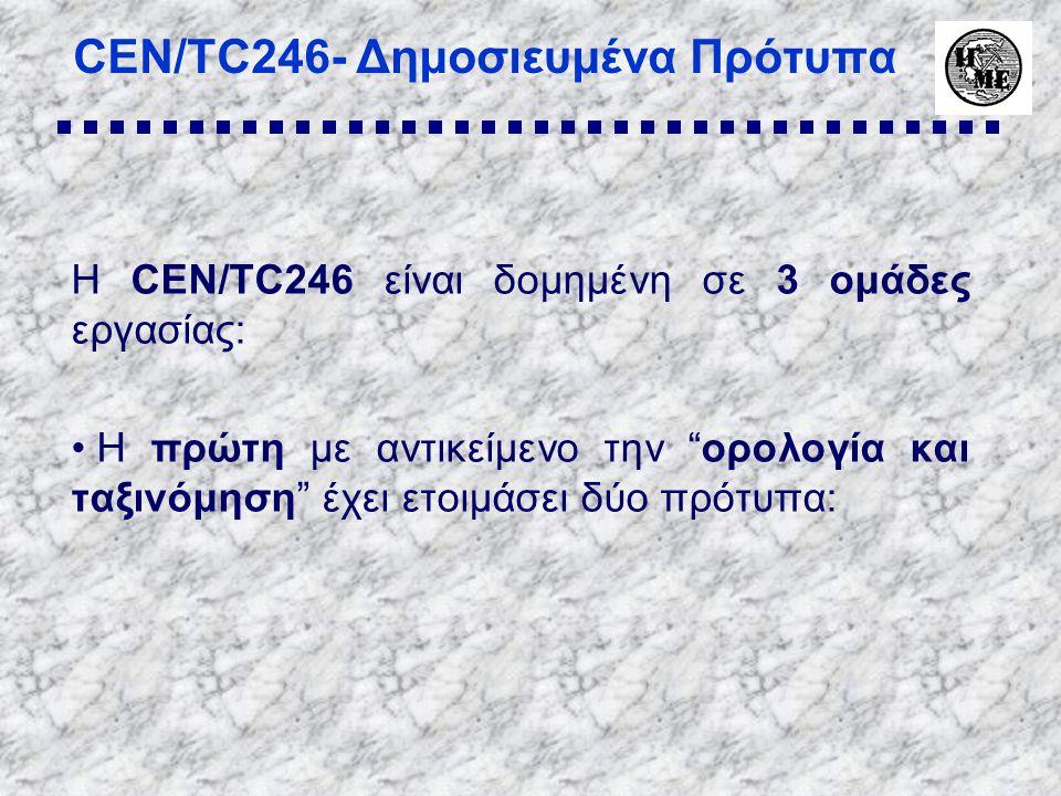 CEN/TC246- Δημοσιευμένα Πρότυπα Η CEN/TC246 είναι δομημένη σε 3 ομάδες εργασίας: • Η πρώτη με αντικείμενο την ορολογία και ταξινόμηση έχει ετοιμάσει δύο πρότυπα: