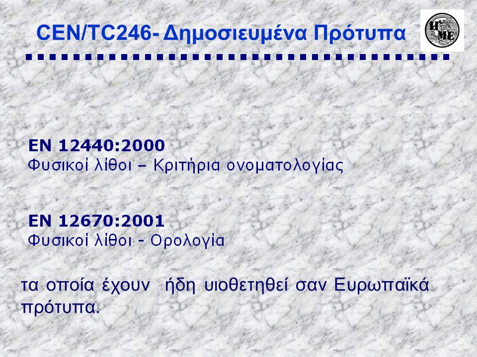 CEN/TC246- Δημοσιευμένα Πρότυπα τα οποία έχουν ήδη υιοθετηθεί σαν Ευρωπαϊκά πρότυπα.