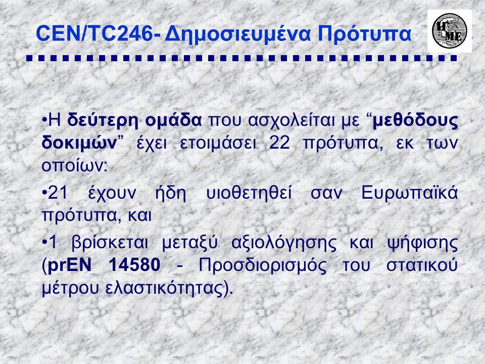 CEN/TC246- Δημοσιευμένα Πρότυπα •Η δεύτερη ομάδα που ασχολείται με μεθόδους δοκιμών έχει ετοιμάσει 22 πρότυπα, εκ των οποίων: •21 έχουν ήδη υιοθετηθεί σαν Ευρωπαϊκά πρότυπα, και •1 βρίσκεται μεταξύ αξιολόγησης και ψήφισης (prEN 14580 - Προσδιορισμός του στατικού μέτρου ελαστικότητας).