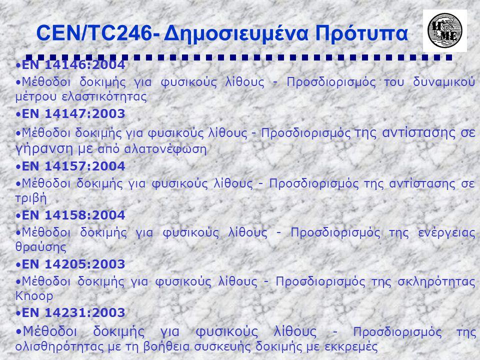 CEN/TC246- Δημοσιευμένα Πρότυπα •EN 14146:2004 •Μέθοδοι δοκιμής για φυσικούς λίθους - Προσδιορισμός του δυναμικού μέτρου ελαστικότητας •EN 14147:2003 •Μέθοδοι δοκιμής για φυσικούς λίθους - Προσδιορισμός της αντίστασης σε γήρανση με από αλατονέφωση •EN 14157:2004 •Μέθοδοι δοκιμής για φυσικούς λίθους - Προσδιορισμός της αντίστασης σε τριβή •EN 14158:2004 •Μέθοδοι δοκιμής για φυσικούς λίθους - Προσδιορισμός της ενέργειας θραύσης •EN 14205:2003 •Μέθοδοι δοκιμής για φυσικούς λίθους - Προσδιορισμός της σκληρότητας Knoop •EN 14231:2003 •Μέθοδοι δοκιμής για φυσικούς λίθους - Προσδιορισμός της ολισθηρότητας με τη βοήθεια συσκευής δοκιμής με εκκρεμές