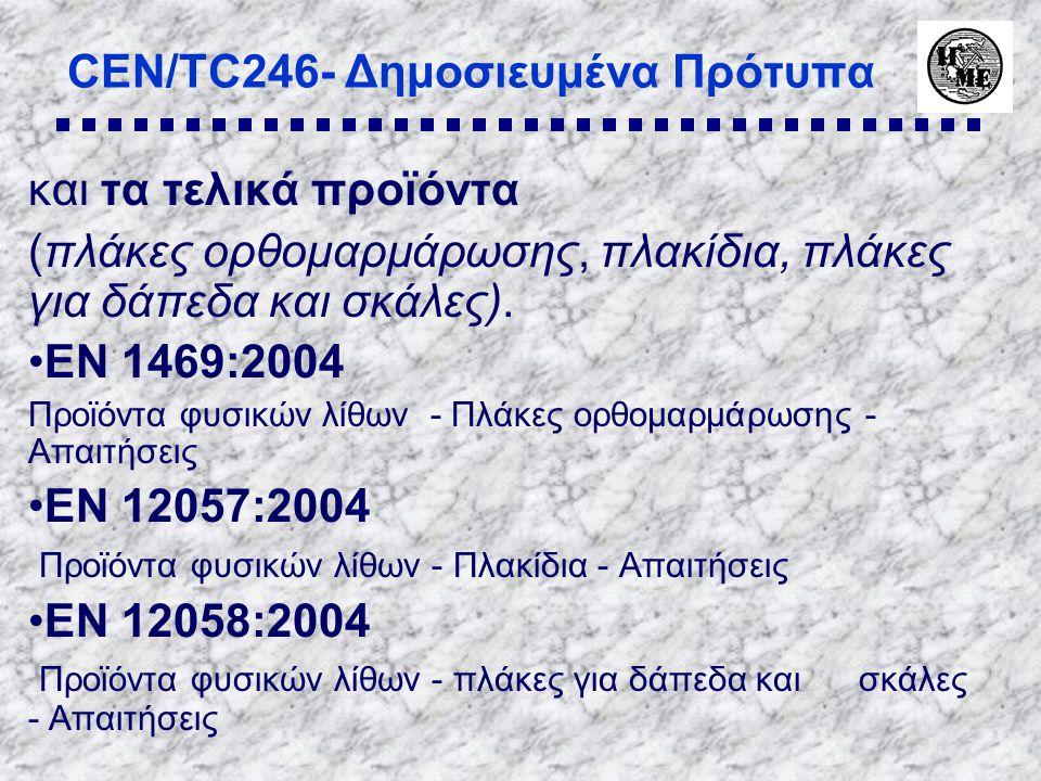 CEN/TC246- Δημοσιευμένα Πρότυπα και τα τελικά προϊόντα (πλάκες ορθομαρμάρωσης, πλακίδια, πλάκες για δάπεδα και σκάλες).