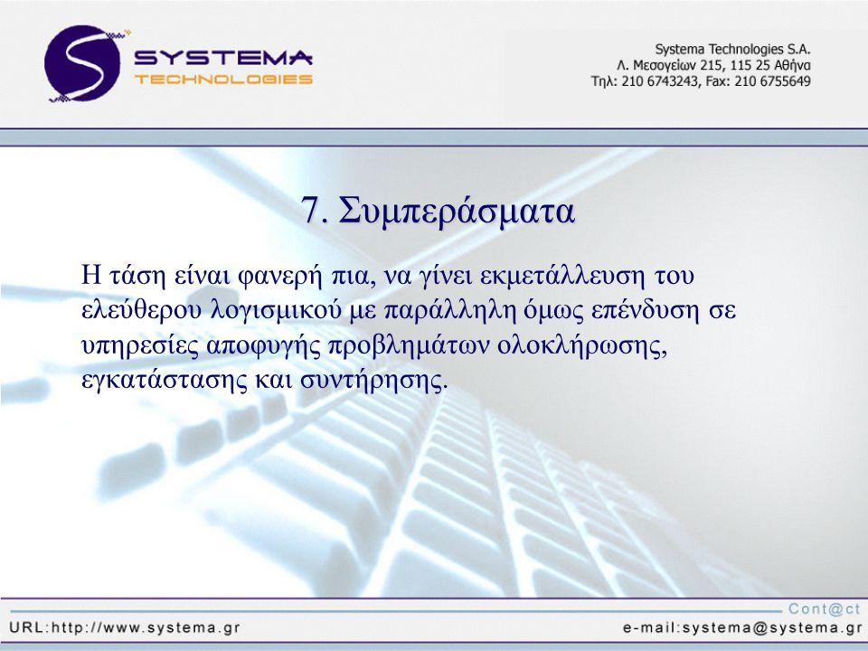 7. Συμπεράσματα Η τάση είναι φανερή πια, να γίνει εκμετάλλευση του ελεύθερου λογισμικού με παράλληλη όμως επένδυση σε υπηρεσίες αποφυγής προβλημάτων ο