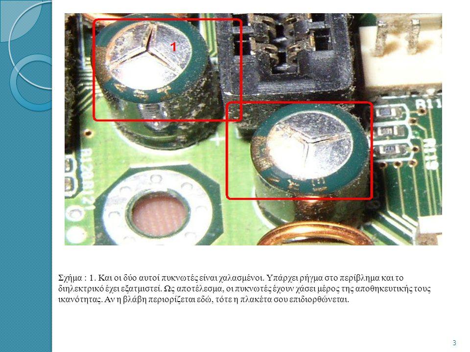 • 5)Αύξηση της σύνθετης αντίστασης. Ένα συνηθισμένο ελάττωμα των ηλεκτρολυτικών πυκνωτών είναι να παρουσιάζουν αντίσταση μεγαλύτερη από την κανονική,