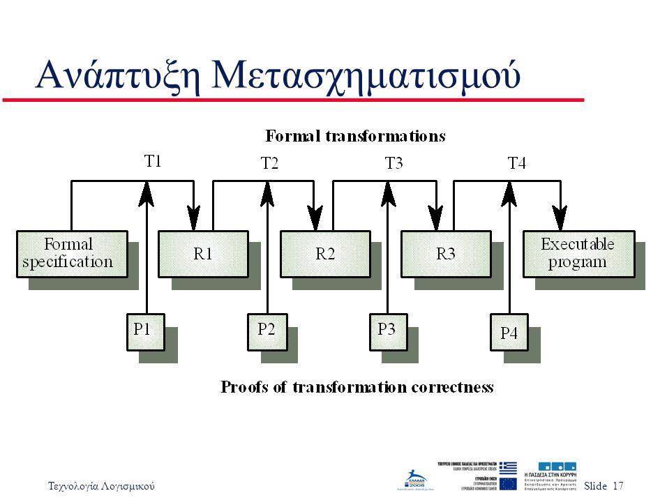 Τεχνολογία ΛογισμικούSlide 17 Ανάπτυξη Μετασχηματισμού