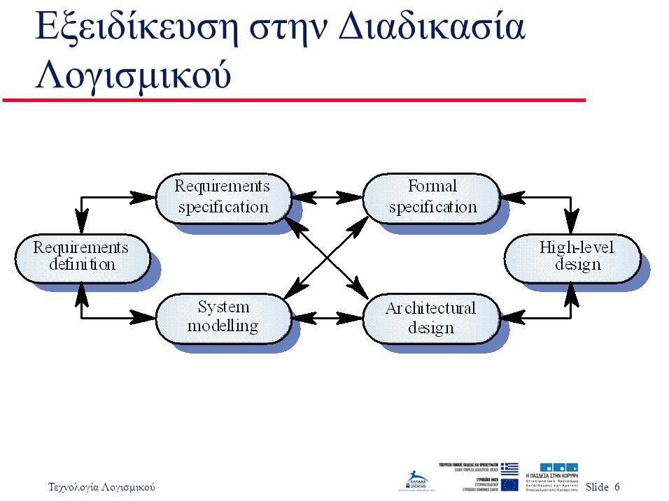 Τεχνολογία ΛογισμικούSlide 6 Εξειδίκευση στην Διαδικασία Λογισμικού
