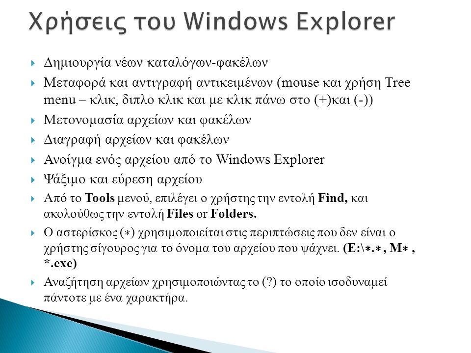  Δημιουργία νέων καταλόγων-φακέλων  Μεταφορά και αντιγραφή αντικειμένων (mouse και χρήση Tree menu – κλικ, διπλο κλικ και με κλικ πάνω στο (+)και (-