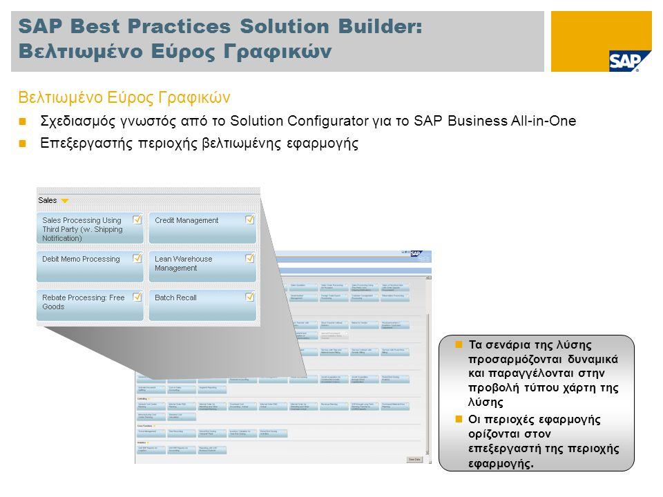 SAP Best Practices Solution Builder: Βελτιωμένο Εύρος Γραφικών Βελτιωμένο Εύρος Γραφικών  Σχεδιασμός γνωστός από το Solution Configurator για το SAP Business All-in-One  Επεξεργαστής περιοχής βελτιωμένης εφαρμογής  Τα σενάρια της λύσης προσαρμόζονται δυναμικά και παραγγέλονται στην προβολή τύπου χάρτη της λύσης  Οι περιοχές εφαρμογής ορίζονται στον επεξεργαστή της περιοχής εφαρμογής.