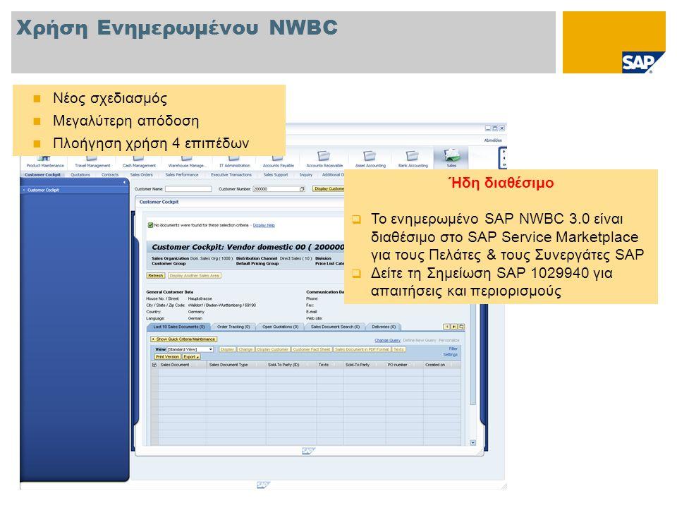 Χρήση Ενημερωμένου NWBC  Νέος σχεδιασμός  Μεγαλύτερη απόδοση  Πλοήγηση χρήση 4 επιπέδων Ήδη διαθέσιμο  Το ενημερωμένο SAP NWBC 3.0 είναι διαθέσιμο στο SAP Service Marketplace για τους Πελάτες & τους Συνεργάτες SAP  Δείτε τη Σημείωση SAP 1029940 για απαιτήσεις και περιορισμούς