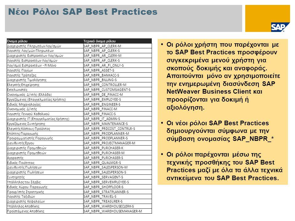 Νέοι Ρόλοι SAP Best Practices • Οι ρόλοι χρήστη που παρέχονται με το SAP Best Practices προσφέρουν συγκεκριμένα μενού χρήστη για σκοπούς δοκιμής και αναφοράς.