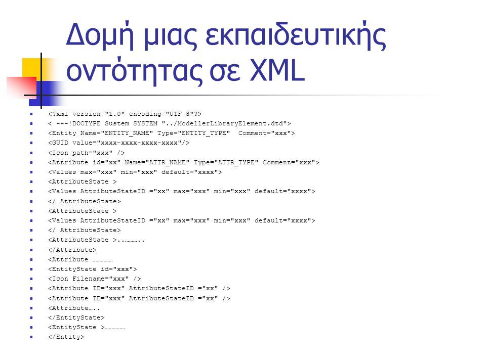 Δομή μιας εκπαιδευτικής οντότητας σε XML  ..………..   <Attribute ……………   <Attribute…..   …………… 