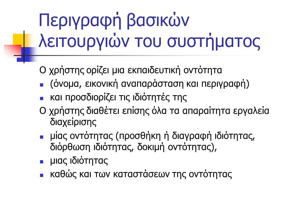 Περιγραφή βασικών λειτουργιών του συστήματος Ο χρήστης ορίζει μια εκπαιδευτική οντότητα  (όνομα, εικονική αναπαράσταση και περιγραφή)  και προσδιορί