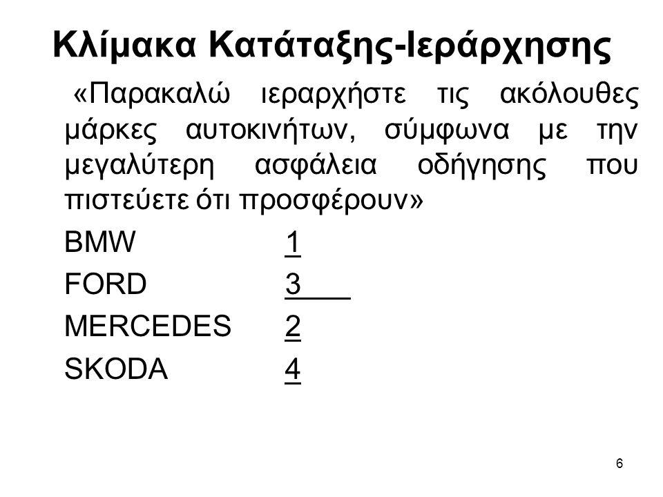 6 Κλίμακα Κατάταξης-Ιεράρχησης «Παρακαλώ ιεραρχήστε τις ακόλουθες μάρκες αυτοκινήτων, σύμφωνα με την μεγαλύτερη ασφάλεια οδήγησης που πιστεύετε ότι προσφέρουν» ΒΜW1 FORD3 MERCEDES2 SKODA4