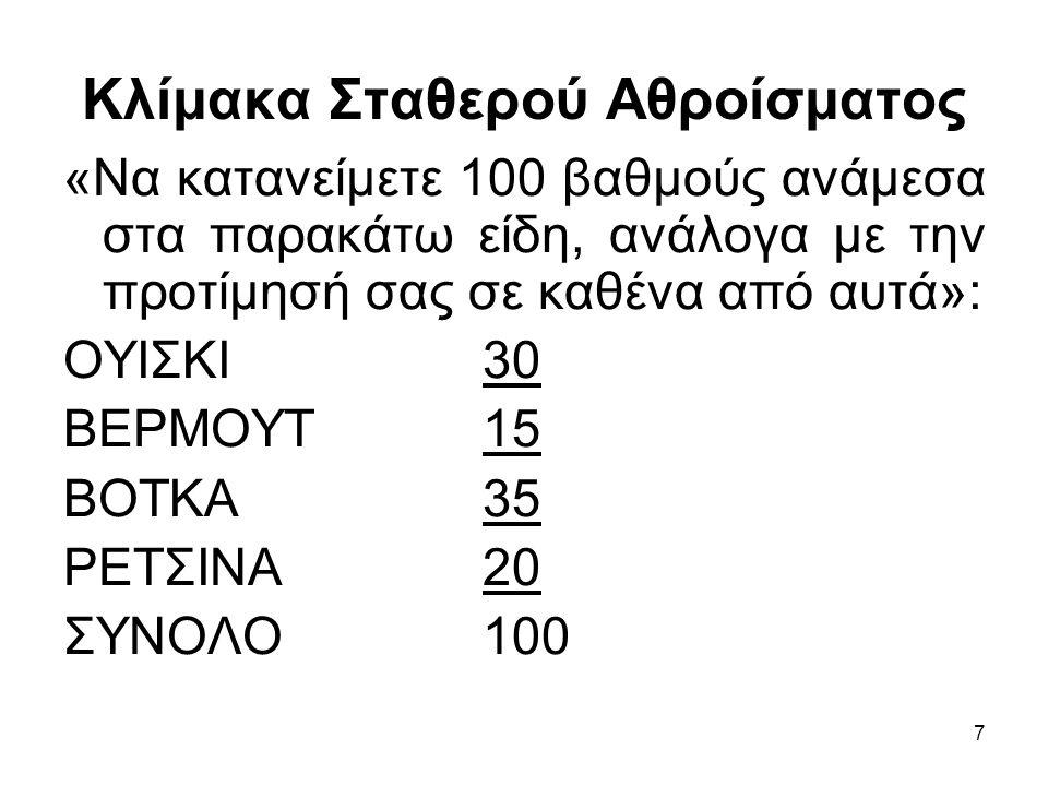 7 Κλίμακα Σταθερού Αθροίσματος «Να κατανείμετε 100 βαθμούς ανάμεσα στα παρακάτω είδη, ανάλογα με την προτίμησή σας σε καθένα από αυτά»: ΟΥΙΣΚΙ 30 ΒΕΡΜΟΥΤ 15 ΒΟΤΚΑ 35 ΡΕΤΣΙΝΑ 20 ΣΥΝΟΛΟ100