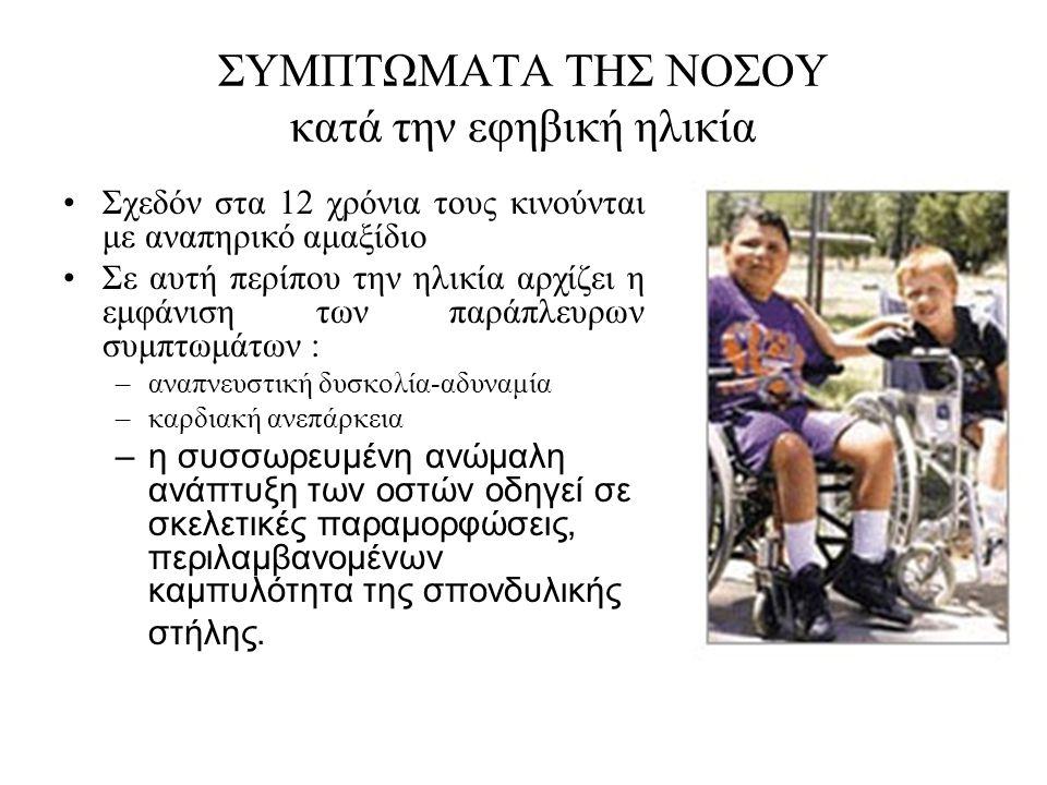 ΣΥΜΠΤΩΜΑΤΑ ΤΗΣ ΝΟΣΟΥ κατά την εφηβική ηλικία •Σχεδόν στα 12 χρόνια τους κινούνται με αναπηρικό αμαξίδιο •Σε αυτή περίπου την ηλικία αρχίζει η εμφάνιση των παράπλευρων συμπτωμάτων : –αναπνευστική δυσκολία-αδυναμία –καρδιακή ανεπάρκεια –η συσσωρευμένη ανώμαλη ανάπτυξη των οστών οδηγεί σε σκελετικές παραμορφώσεις, περιλαμβανομένων καμπυλότητα της σπονδυλικής στήλης.