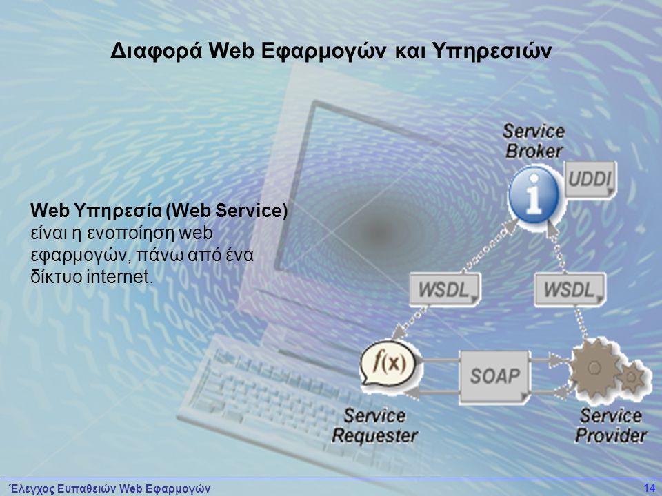 Έλεγχος Ευπαθειών Web Εφαρμογών 14 Web Υπηρεσία (Web Service) είναι η ενοποίηση web εφαρμογών, πάνω από ένα δίκτυο internet. Διαφορά Web Εφαρμογών και
