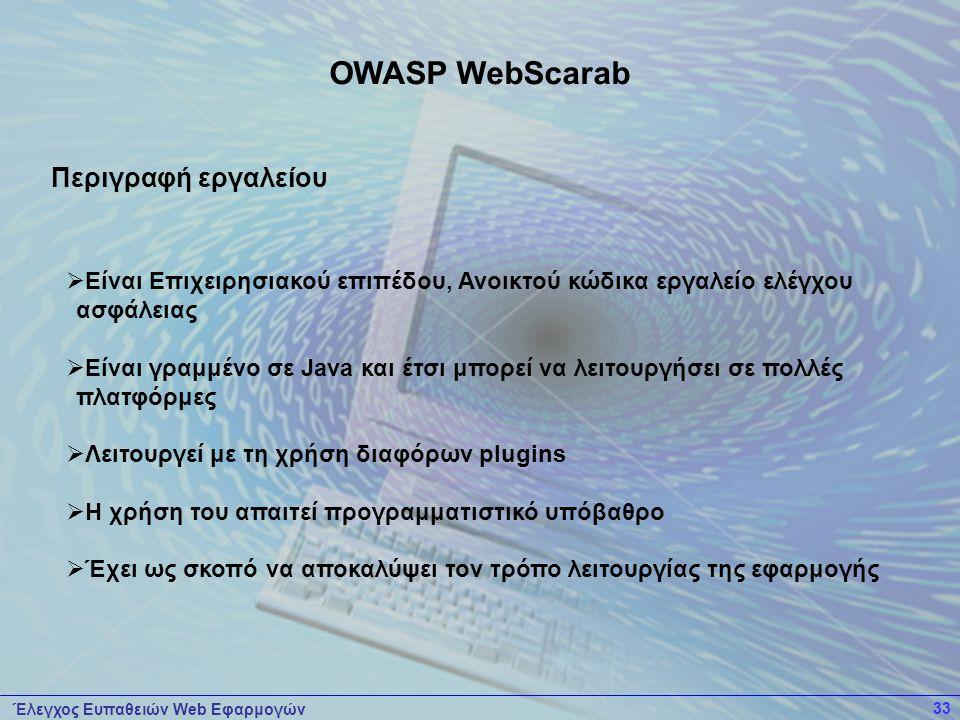 Έλεγχος Ευπαθειών Web Εφαρμογών 33  Είναι Επιχειρησιακού επιπέδου, Ανοικτού κώδικα εργαλείο ελέγχου ασφάλειας  Είναι γραμμένο σε Java και έτσι μπορε