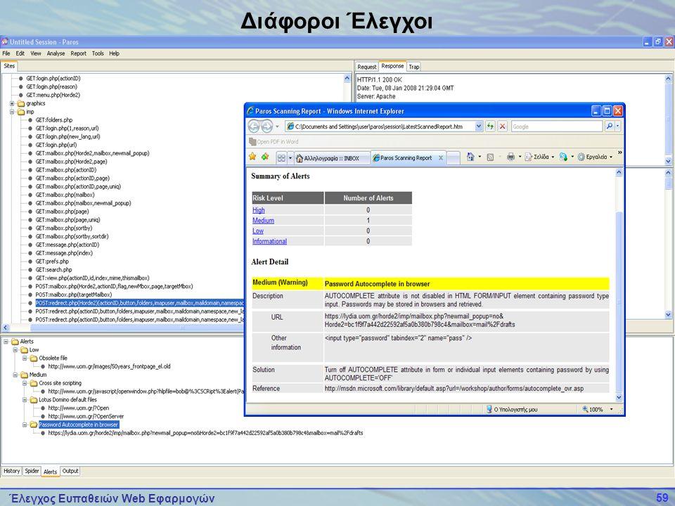 Έλεγχος Ευπαθειών Web Εφαρμογών 59 Διάφοροι Έλεγχοι