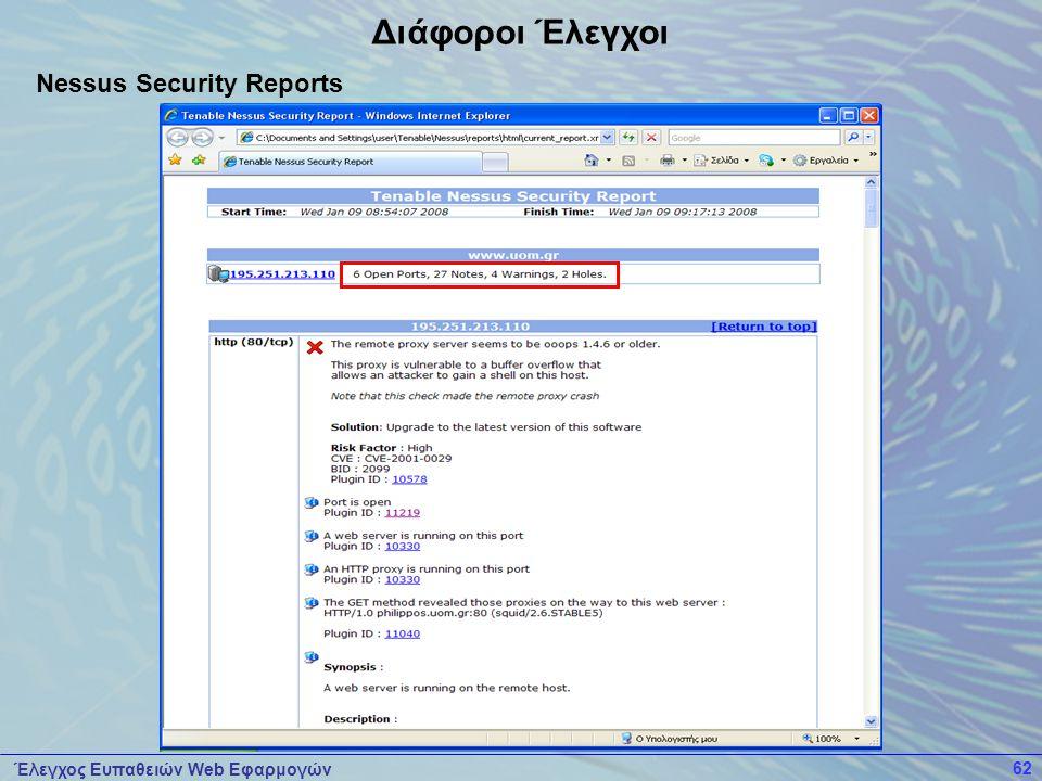 Έλεγχος Ευπαθειών Web Εφαρμογών 62 Διάφοροι Έλεγχοι Nessus Security Reports
