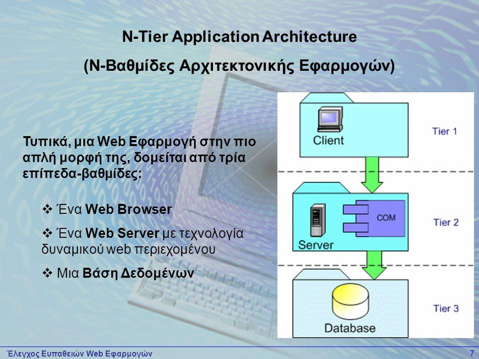 Έλεγχος Ευπαθειών Web Εφαρμογών 7 Τυπικά, μια Web Εφαρμογή στην πιο απλή μορφή της, δομείται από τρία επίπεδα-βαθμίδες:  Ένα Web Browser  Ένα Web Server με τεχνολογία δυναμικού web περιεχομένου  Μια Βάση Δεδομένων N-Tier Application Architecture (Ν-Βαθμίδες Αρχιτεκτονικής Εφαρμογών)