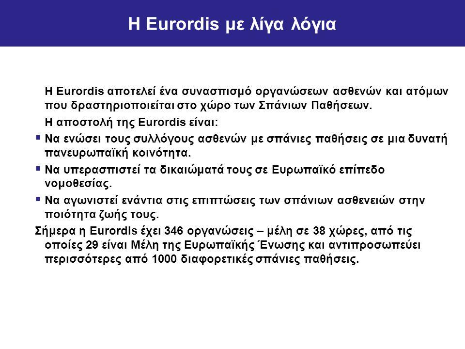 Η Eurordis με λίγα λόγια Η Eurordis αποτελεί ένα συνασπισμό οργανώσεων ασθενών και ατόμων που δραστηριοποιείται στο χώρο των Σπάνιων Παθήσεων.