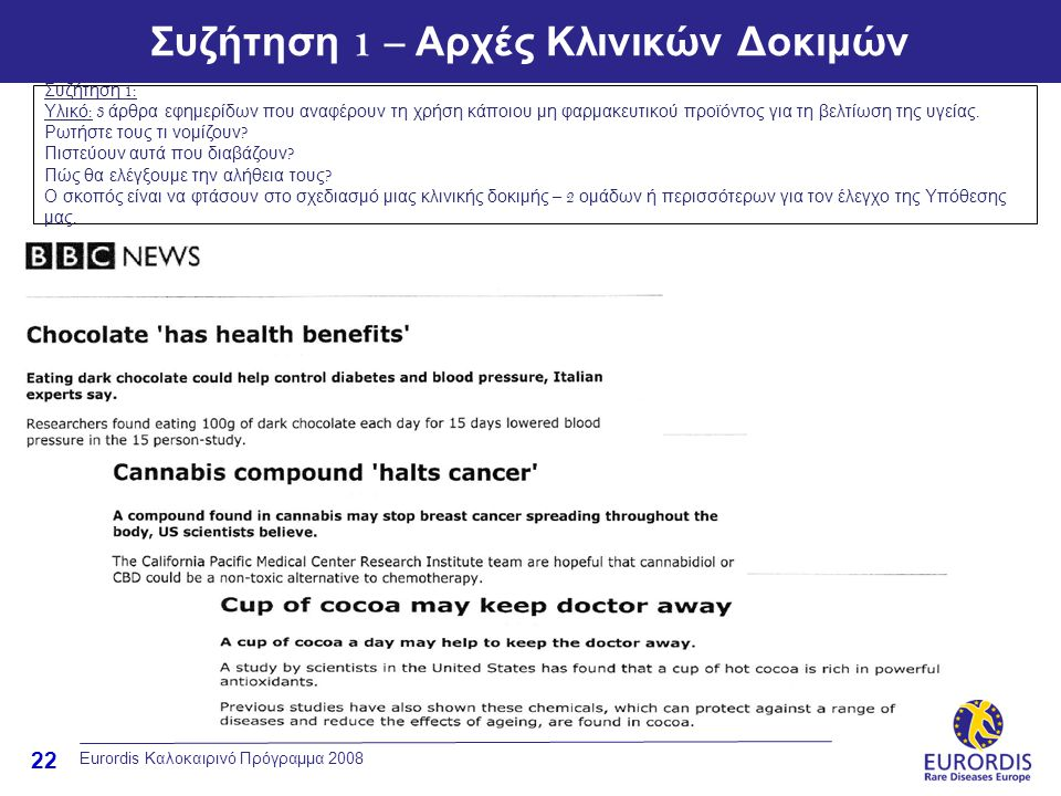 22 Eurordis Καλοκαιρινό Πρόγραμμα 2008 Συζήτηση 1 – Αρχές Κλινικών Δοκιμών Συζήτηση 1: Υλικό : 3 άρθρα εφημερίδων που αναφέρουν τη χρήση κάποιου μη φα