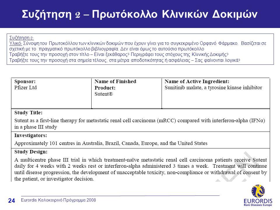 24 Eurordis Καλοκαιρινό Πρόγραμμα 2008 Συζήτηση 2 – Πρωτόκολλο Κλινικών Δοκιμών Συζήτηση 2: Υλικό : Σύνοψη του Πρωτοκόλλου των κλινικών δοκιμών που έχ