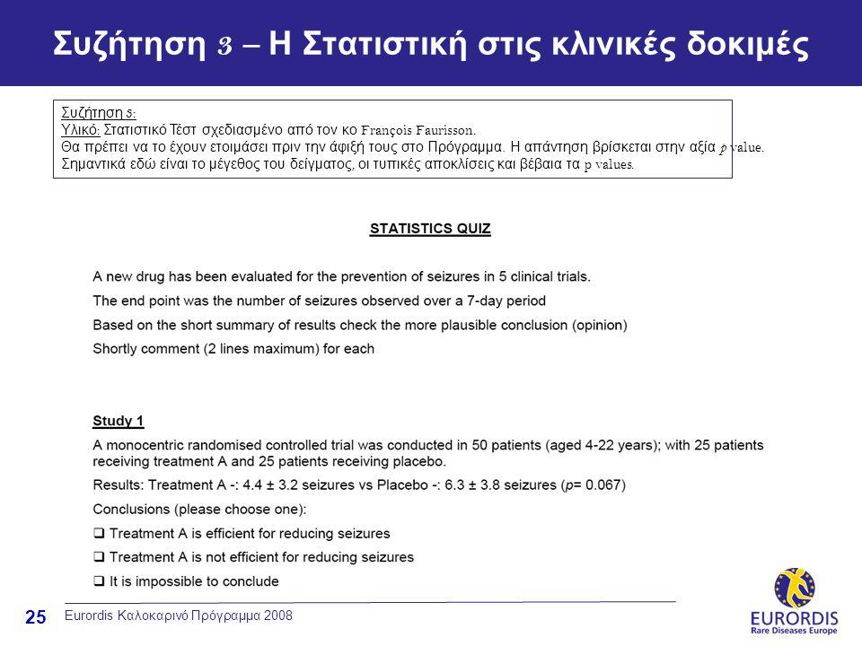 25 Eurordis Καλοκαρινό Πρόγραμμα 2008 Συζήτηση 3 – Η Στατιστική στις κλινικές δοκιμές Συζήτηση 3: Υλικό : Στατιστικό Τέστ σχεδιασμένο από τον κο Franç